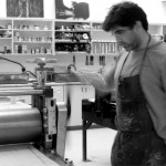 Rader working in print studio.